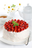 Beautiful Cake with Strawberries and Cream Photographic Print by  legaa