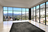 Empty Room Interior with Floor to Ceiling Windows and Scenic View Posters by  PlusONE
