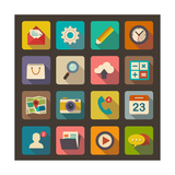Flat Icons Set for Web and Mobile Applications Prints by  ekler