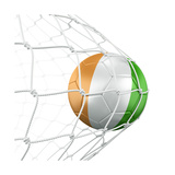 Ivoran Coast Soccer Ball in a Net Print by  zentilia