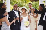 Wedding Guests Toasting Bride and Groom Poster by  Blend Images