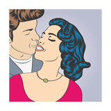 Pop Art Kissing Couple Poster by Eva Andreea