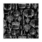 Wine Pattern Drawn by Chalk Prints by  incomible