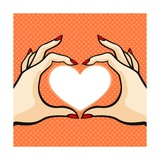 Comics Style Valentine's Day Card with Two Hands and Heart Prints by Alena Kozlova