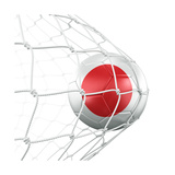 Japanese Soccer Ball in a Net Premium Giclee Print by  zentilia