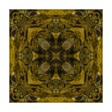 Art Nouveau Colorful Ornamental Vintage Pattern in Gold and Green Colors Print by Irina QQQ