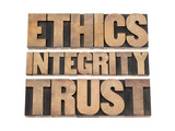 Ethics, Integrity, Trust Word Poster by  PixelsAway
