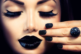 Subbotina Anna - Beauty Fashion Model Girl with Black Make Up, Long Lushes Fotografická reprodukce
