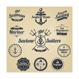 Set of Vintage Retro Nautical Badges and Labels Posters by Oros Gabor
