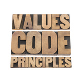 Values, Code, Principles Words Prints by  PixelsAway