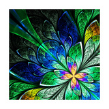 Beautiful Fractal Flower in Yellow, Green and Blue Prints by  velirina