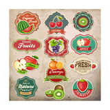 Vintage Retro Grunge Fresh Fruit Labels, Badges and Icons Prints by  Catherinecml