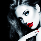 Sexy Beauty Girl with Red Lips and Nails Photographic Print by Subbotina Anna