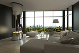 Living Room Interior with Open Fireplace and Floor to Ceiling Windows Photographic Print by  PlusONE
