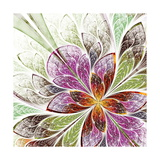Beautiful Fractal Flower in Beige, Green and Violet Art by  velirina