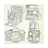 Cool Hand Drawn Old Camera Set, All Time Legends Prints by Alisa Foytik