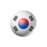 Soccer Football Ball with South Korea Flag Premium Giclee Print by  daboost