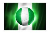 Soccer Football Ball with Nigeria Flag Poster par  daboost