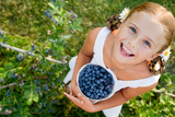 Blueberries, Summer, Child - Lovely Girl with Fresh Blueberries in the Garden Photographic Print by  Gorilla