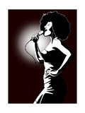 A Jazz Singer on Black Background Posters by  isaxar