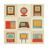 Retro Vintage Tv Set Posters af vector pro
