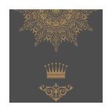 Elegant Gold Frame Banner with Crown, Floral Elements on the Ornate Background Prints by Kunz Viktor