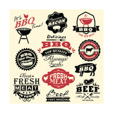 Vintage Retro BBQ Badges and Labels Prints by  Catherinecml