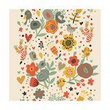 Gentle Floral Pattern in Bright Colors Prints by  smilewithjul