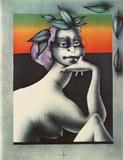 Frau mit Brille und Blättern Samlartryck av Paul Wunderlich