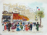 Paris, Le Café Du Dôme Collectable Print by Urbain Huchet