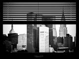 Window View with Venetian Blinds: the Empire State Building and the Chrysler Building Photographic Print by Philippe Hugonnard