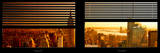 Window View with Venetian Blinds: Manhattan View with Empire State Building at Sunset Photographic Print by Philippe Hugonnard