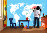 Colour in Kids World Map Wallpaper Mural Veggoverføringsbilde