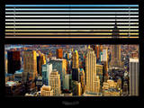Window View with Venetian Blinds: Cityscape of Manhattanand One World Trade Center Photographic Print by Philippe Hugonnard
