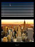 Window View with Venetian Blinds: Landscape of Manhattan - Empire State Building and 1WTC Views Photographic Print by Philippe Hugonnard