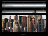 Window View with Venetian Blinds: Cityscape with the Chrysler Building of Manhattan Photographic Print by Philippe Hugonnard