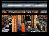 Window View with Venetian Blinds: 42nd Street and Times Square - Theater District Photographic Print by Philippe Hugonnard