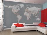 Aktuelle Weltkarte in Grau als Fototapete Fototapeten