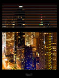 Window View with Venetian Blinds: 42nd Street with theTop of the Empire State Building by Night Photographic Print by Philippe Hugonnard