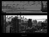 Window View with Venetian Blinds: Manhattan Landscape - One World Trade Center and Liberty Statue Photographic Print by Philippe Hugonnard