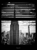 Window View with Venetian Blinds: Manhattan View with Empire State Building (1 WTC) Photographic Print by Philippe Hugonnard