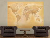 Vintage Style World Map Deco Wallpaper Mural Vægplakat i tapetform