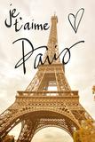 Je t'aime Paris Poster by Emily Navas