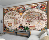 Antique Syle Map of the World Wall Mural Wallpaper Mural