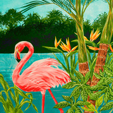 Hot Tropical Flamingo I Posters by Linda Baliko