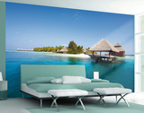 Hi Definition Beach Hut Wallpaper Mural Wallpaper Mural
