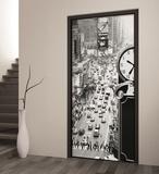 New York Times Square Monotone Door Papier peint Mural Papier peint