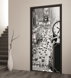 New York Times Square Monotone Door Wallpaper Mural Tapettijuliste