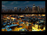 Window View with Venetian Blinds: Midtown Manhattan - Theater District and Times Square by Night Photographic Print by Philippe Hugonnard