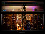 Window View with Venetian Blinds: 42nd Street and Times Square by Night Photographic Print by Philippe Hugonnard